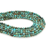 Bluejoy 4mm Genuine Natural American Turquoise Dainty Round Bead 16-inch Strand