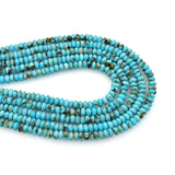 Bluejoy 4mm Genuine Classic Style Natural Turquoise Roundel Bead 16-inch Strand