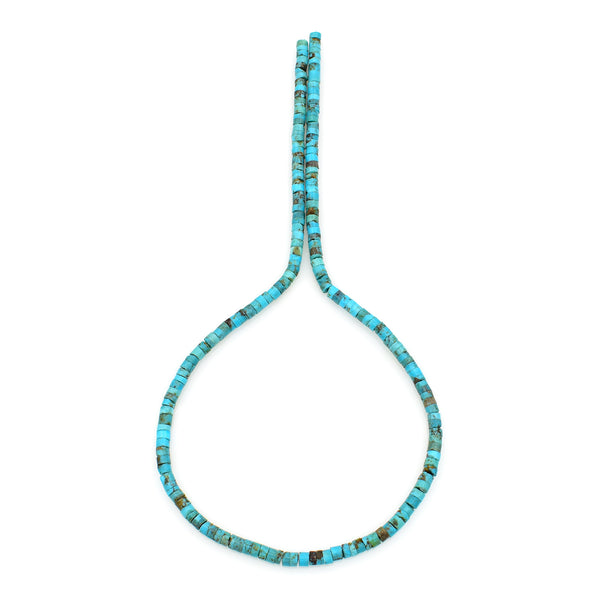Bluejoy Genuine Indian-Style Natural Turquoise Dainty Heishi Bead 16-inch Strand (4mm)