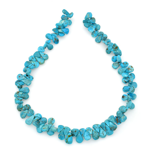 Bluejoy 7x11mm Genuine Natural American Turquoise Teardrop Bead 16 inch Strand