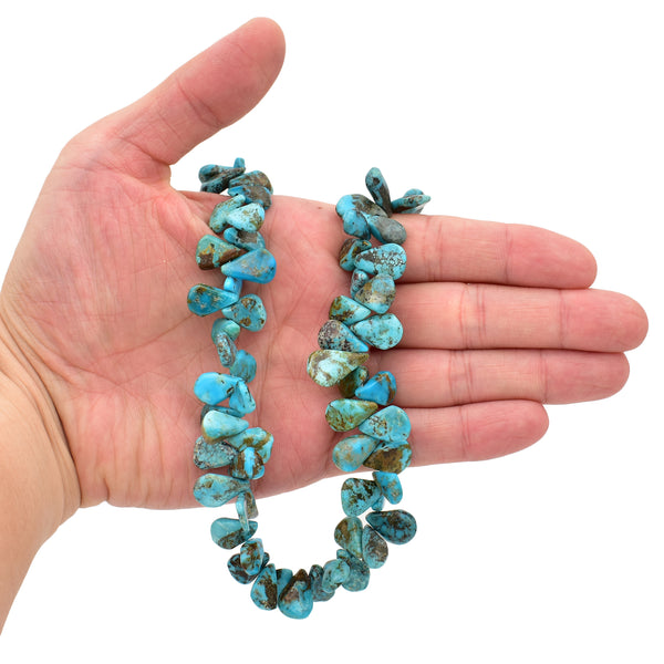 Bluejoy 11x15mm Genuine Natural American Turquoise Teardrop Bead 16 inch Strand