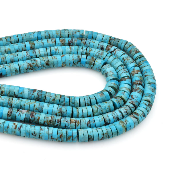 Bluejoy 7mm Genuine Indian-Style Natural Turquoise Heishi Bead 16-inch Strand