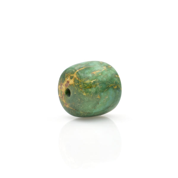 American-Mined Natural Turquoise Loose Bead 12mmx13mm Drum Shape