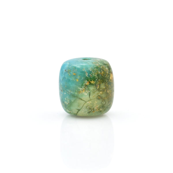American-Mined Natural Turquoise Loose Bead 13mmx13mm Drum Shape
