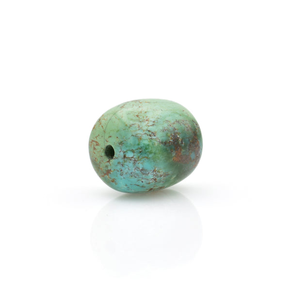 American-Mined Natural Turquoise Loose Bead 12.5mmx14mm Drum Shape