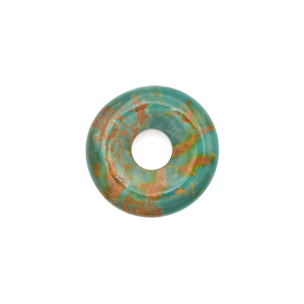 American-Mined Natural Turquoise Loose Bead 28mm Donut Shape