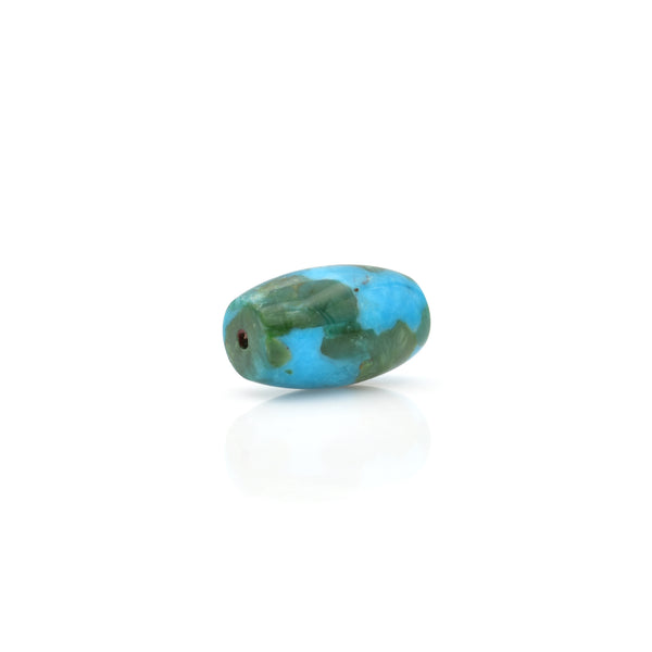 American-Mined Natural Turquoise Polychrome Loose Bead 12mmx19mm Barrel Shape