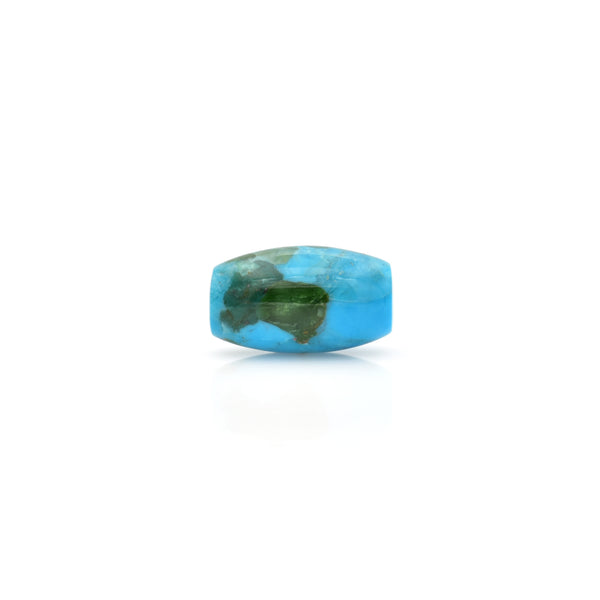 American-Mined Natural Turquoise Polychrome Loose Bead 11.5mmx20mm Barrel Shape