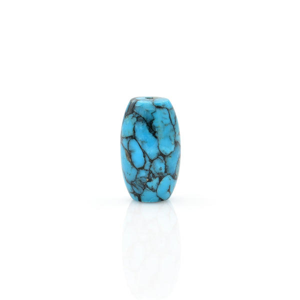 American-Mined Natural Turquoise Mosaic Loose Bead 11mmx19mm Barrel Shape