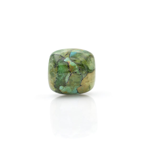 American-Mined Natural Turquoise Mosaic Loose Bead 22mmx22mm Drum Shape