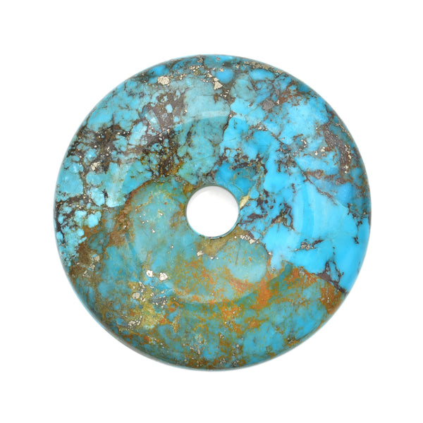 American-Mined Natural Turquoise Polychrome Loose Bead 60mm XL Donut Shape