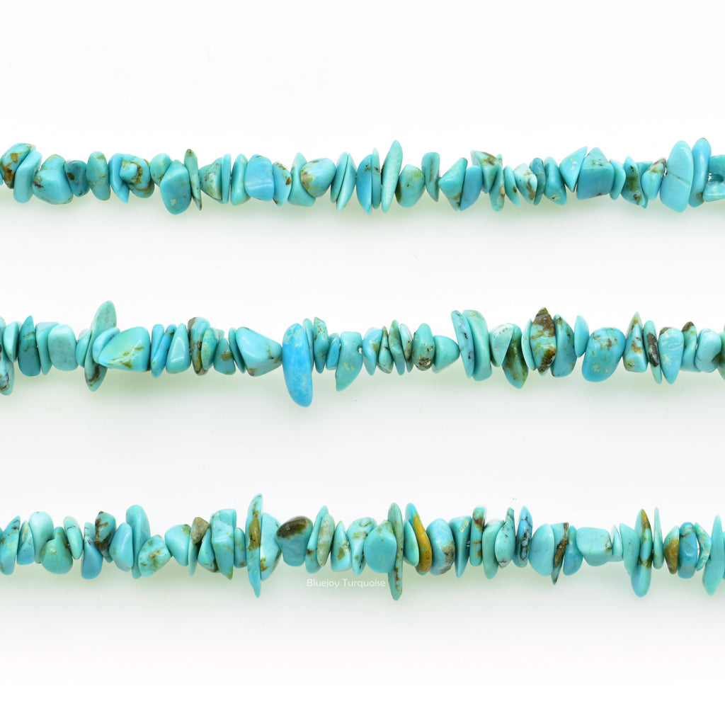 Genuine Natural American Turquoise Chip Bead 16 inch Strand (4x6mm)
