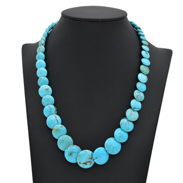 Genuine Natural American Turquoise Graduated Disc Bead 16 inch Strand (6-16mm)