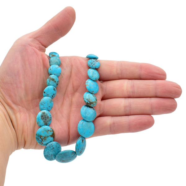 Genuine Natural American Turquoise Graduated Disc Bead 16 inch Strand (6-20mm)