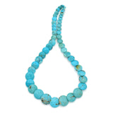 Genuine Natural American Turquoise Graduated Disc Bead 16 inch Strand (7-16mm)