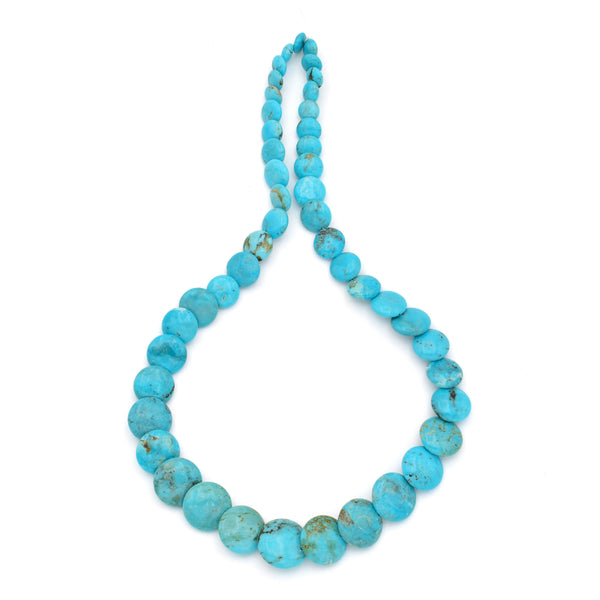 Genuine Natural American Turquoise Graduated Disc Bead 16 inch Strand (7-15mm)