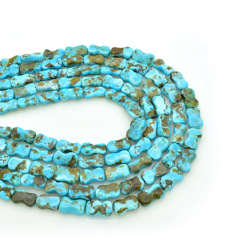 Genuine Natural American Turquoise Dog Bone Bead 16 inch Strand (Dark Blue)