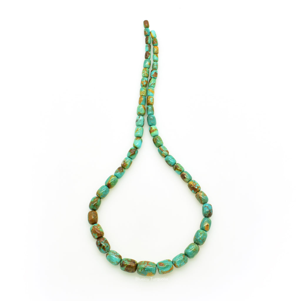 Genuine Natural American Turquoise Graduated Drum Bead 16 inch Strand (4x6mm-10x12mm)