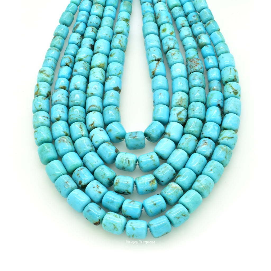 Genuine Natural American Turquoise Graduated Drum Bead 16 inch Strand (3x4mm-6x7mm)