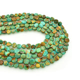 Genuine Natural American Turquoise Coin Shape Bead 16 inch (8mm)