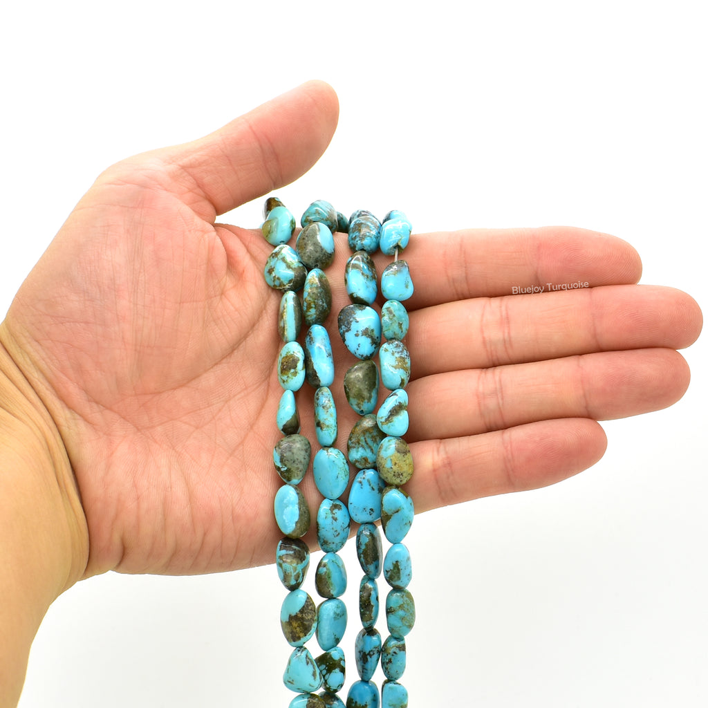 Genuine Natural American Turquoise Nugget Bead 16 inch Strand (8x10mm)
