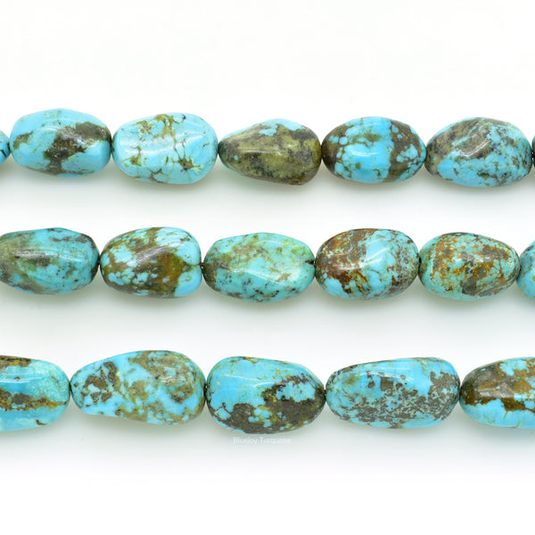 Genuine Natural American Turquoise Nugget Bead 16 inch Strand (12x14mm)