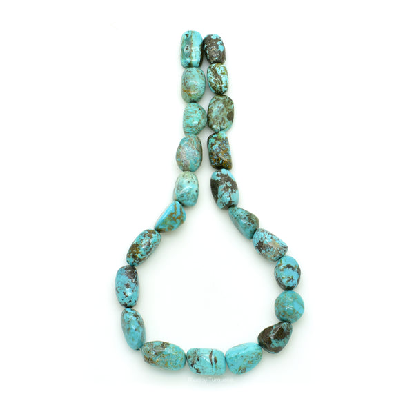 Genuine Natural American Turquoise Nugget Bead 16 inch Strand (12x20mm)