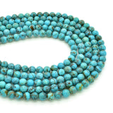 Genuine Natural American Turquoise Round Bead 16 inch Strand (6mm)