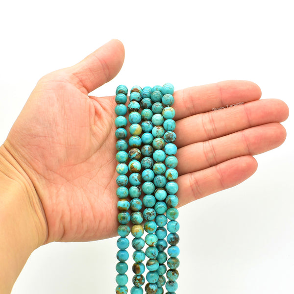 Genuine Natural American Turquoise Round Bead 16 inch Strand (8mm)