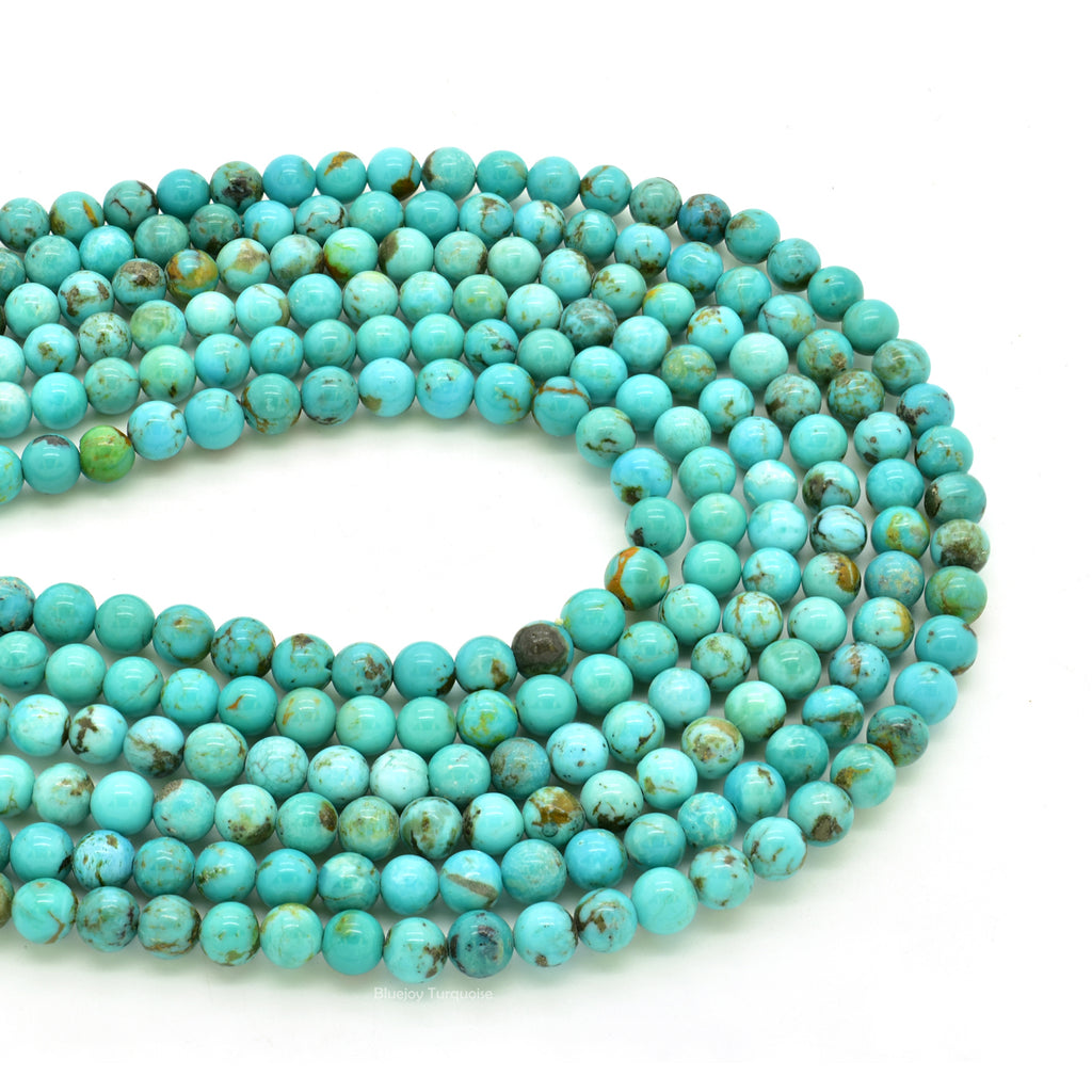Genuine Natural American Turquoise Round Bead 16 inch Strand (5mm)