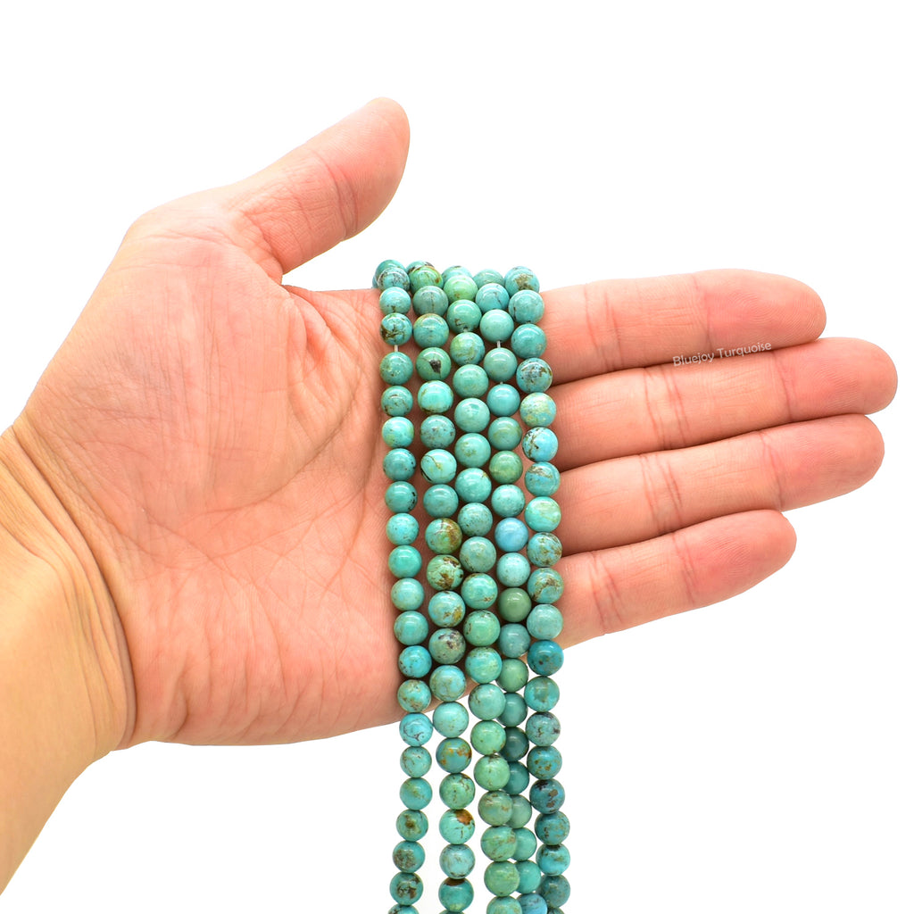 Genuine Natural American Turquoise Round Bead 16 inch Strand (7mm)