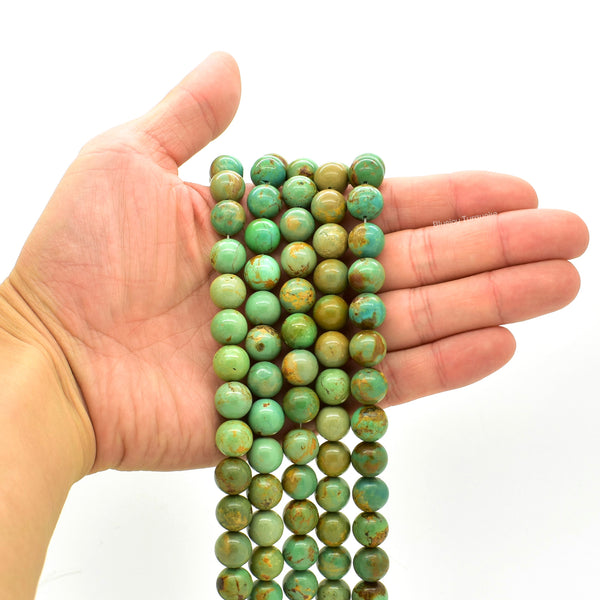 Genuine Natural American Turquoise Round Bead 16 inch Strand (11mm)