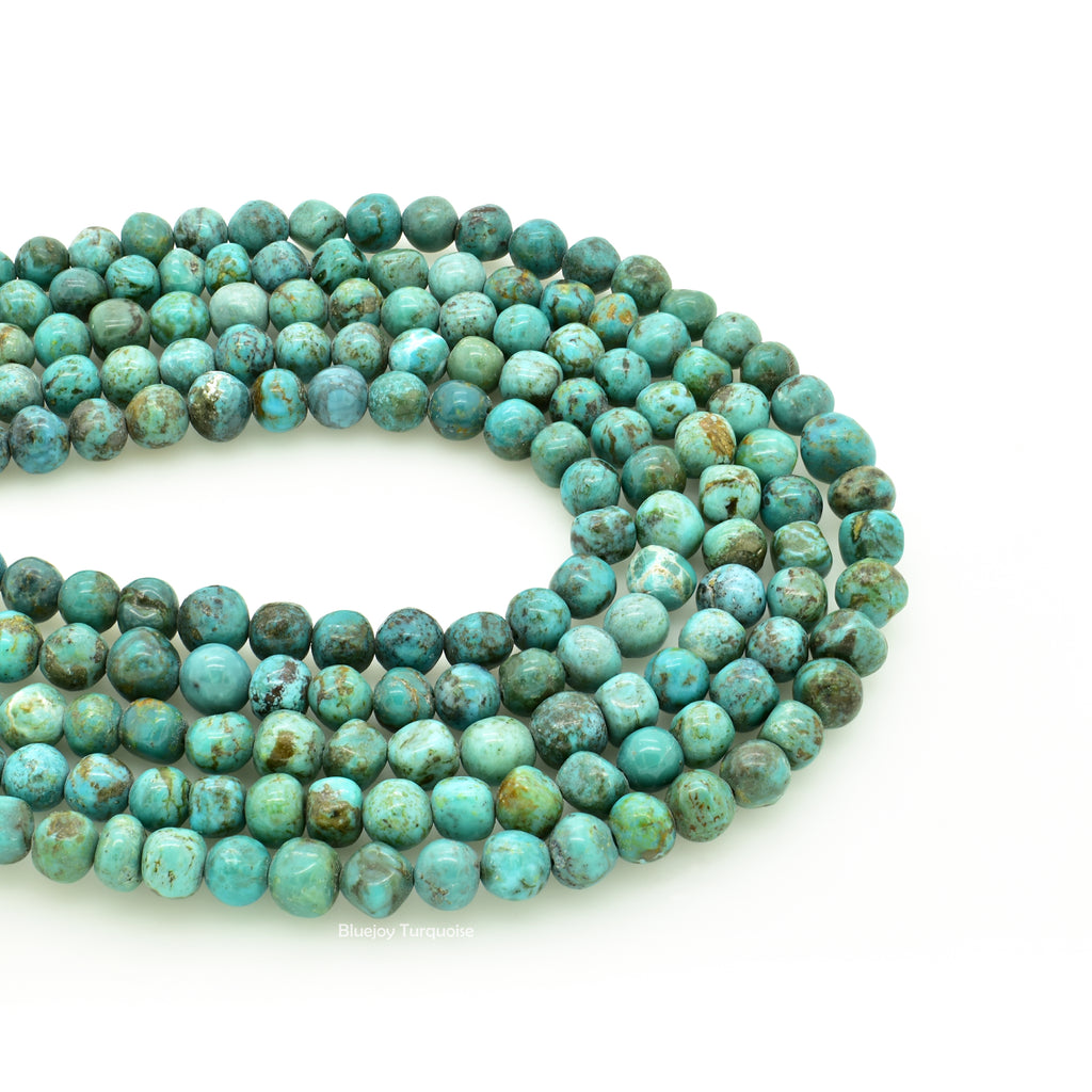 Genuine Natural American Turquoise Free-Form Round Nugget Bead 16 inch Strand (6mm)