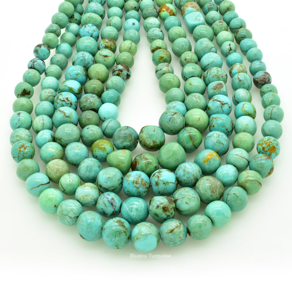Genuine Natural American Turquoise Free-Form Graduated Round Nugget Bead 16 inch Strand (4-8mm)
