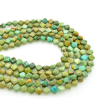 Genuine Natural American Turquoise Diamond-Shape Bead 16 inch Strand (6x6mm)