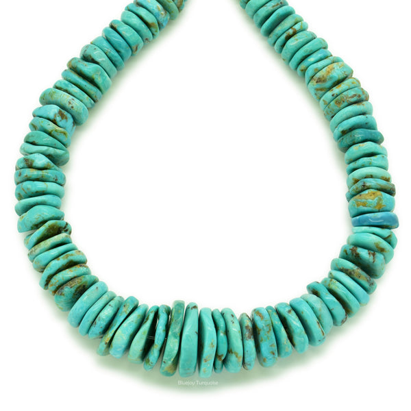Indian-Style Natural Light-Blue Turquoise XL Graduated Free-Form Disc Bead 16-inch Strand