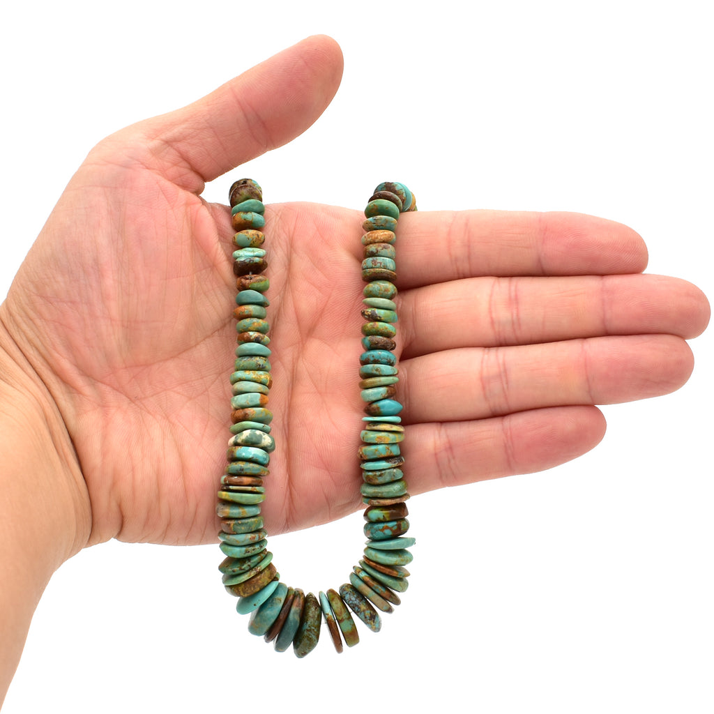 Indian-Style Natural Green Turquoise XL Graduated Free-Form Disc Bead w/Bold Matrix 16-inch Strand