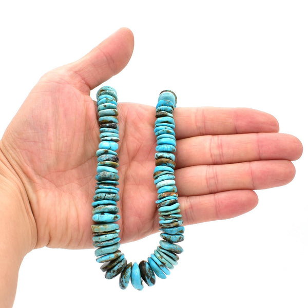 Indian-Style Natural Dark Blue Turquoise XL Graduated Free-Form Disc Bead 16-inch Strand