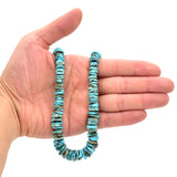 Indian-Style Natural Light Blue Turquoise XL Graduated Free-Form Disc Bead 16-inch Strand