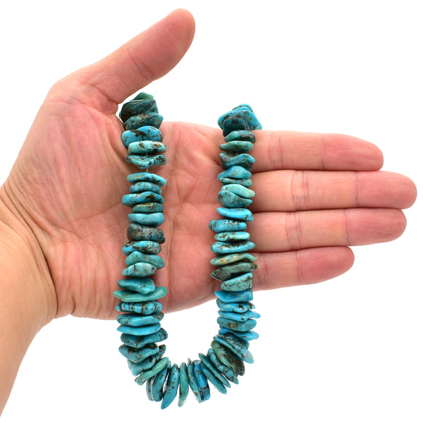 Genuine Natural Turquoise XL Graduated Raw Flats Bead 16-inch Strand