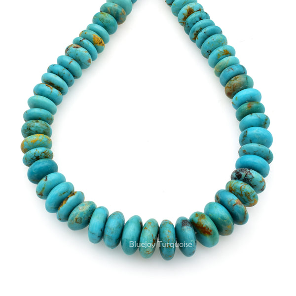 Genuine Natural American Turquoise Graduated Roundel Bead 16 inch Strand (7mm-11mm)