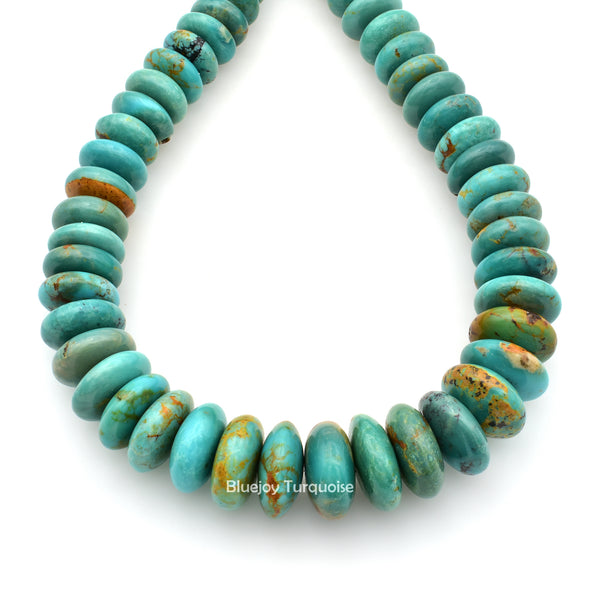 Genuine Natural American Turquoise Graduated Roundel Bead 16 inch Strand (7mm-13mm)