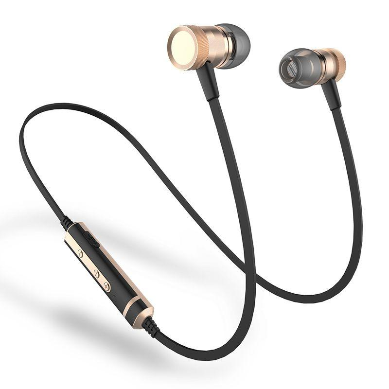 Sweatproof Bluetooth Magnetic Wireless Earphones with Mic, Volume Control and Bass