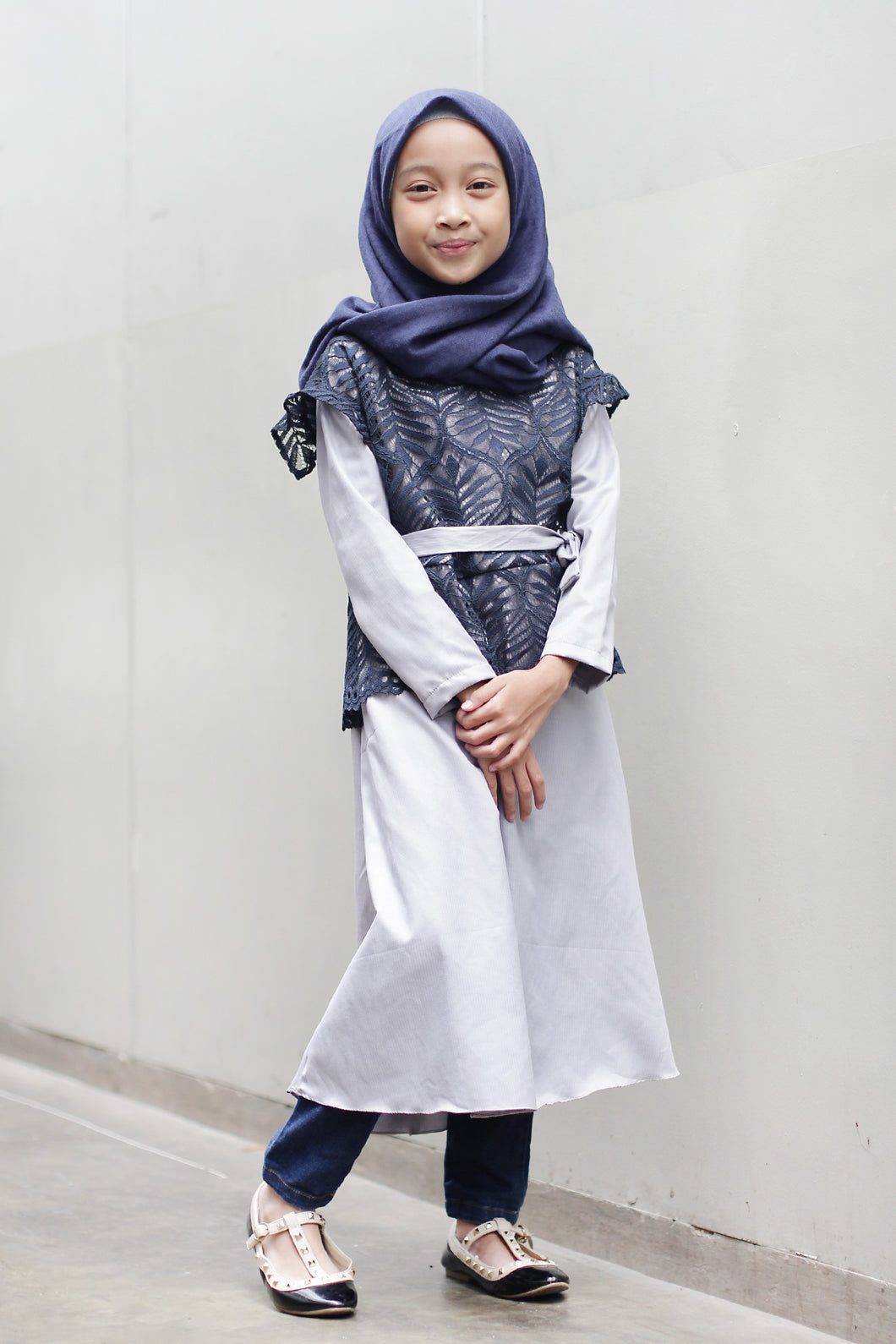 Namira Tunic Kids Grey Navy, Kids - Casa Elana Indonesia