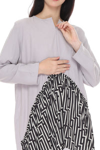 Celia Tunic Grey Black, Tops - Casa Elana Indonesia