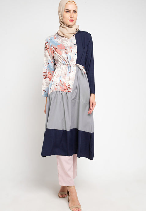 Amaya Breastfeeding Tunic Navy Flower