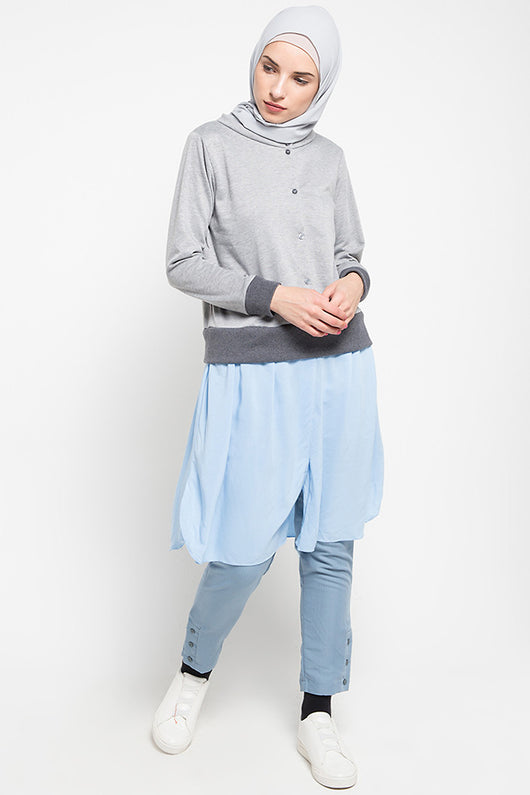 Kousa Sweater Skirt Blue, Tops - Casa Elana Indonesia