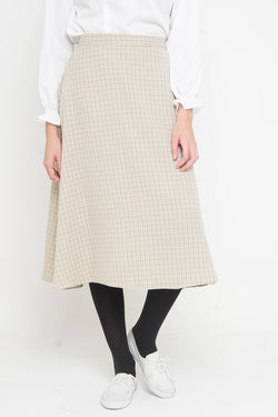 Viana Skirt Cream Plaid, Bottom / Pants - Casa Elana Indonesia