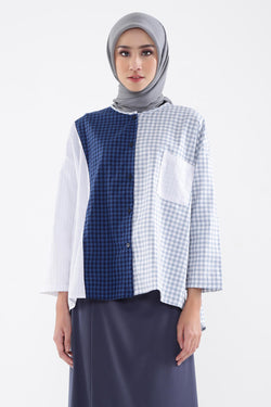 Rury Shirt Blue Navy, Tops - Casa Elana Indonesia