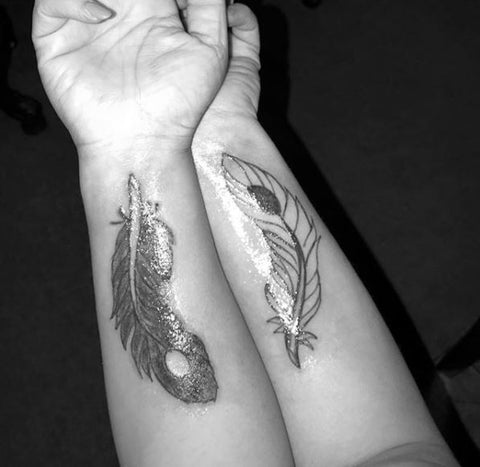 Best friend tattoo designs - feather yin & yang